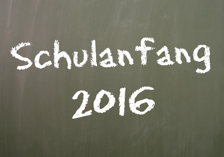 grade school age: Chalkboard with the German word Back to School and the year number 2016