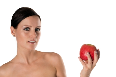 periodontal disease: young woman with an apple