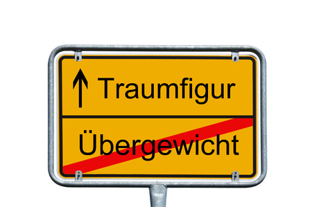 dream body: Sign with the german words dream figure and overweight