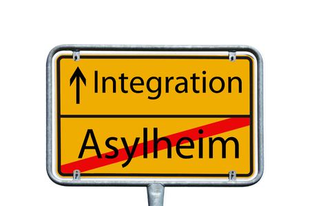 war refugee: sign with the german words asylum home and integration