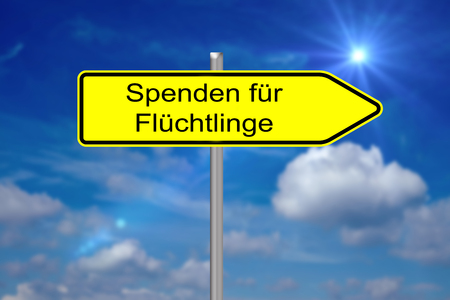 persecution: Sign with the german words Donations for Refugees
