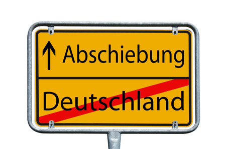 persecution: sign with the german words Deportation and Germany Stock Photo