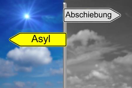 asylum: Sign with the german words Deportation and Asylum