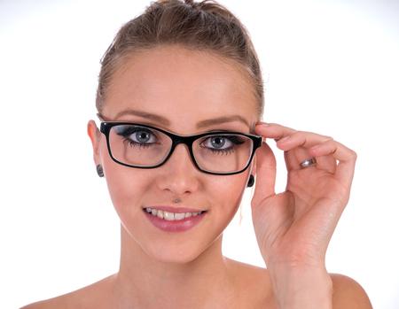 bifocals: pretty woman wearing glasses