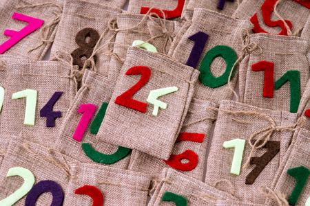 Advent Calendar of many jute bags