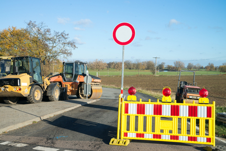 wheel loader: construction site with a road roller and wheel loader Stock Photo