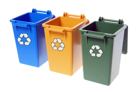 discard: Dustbins in the colors blue, yellow and green isolated over a white background