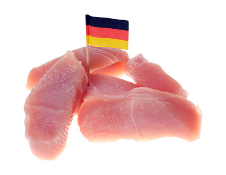 production facility: turkey steak with Germany flag isolated over a white background