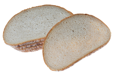 exempted: many slice of brown bread isolated over a white background