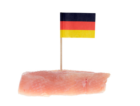exempted: turkey steak with Germany flag isolated over a white background