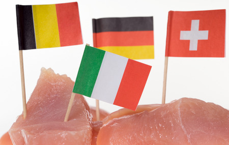production facility: turkey steak with different flags over a white background
