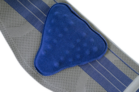 lumbago: Bandage for the back over a white background Stock Photo