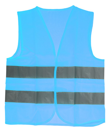 reflective: Safety vest in blue with reflective stripes isolated over a white background