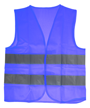 safety vest: Safety vest in blue with reflective stripes isolated over a white background