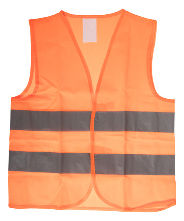 reflective: Safety vest with reflective stripes isolated over a white background