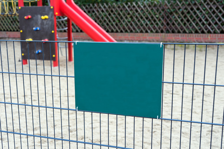 recreational climbing: Playground for Childrens and empty sign Stock Photo