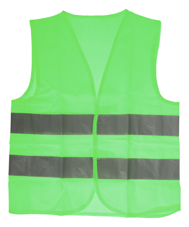 safety vest: green Safety vest with reflective stripes isolated over a white background