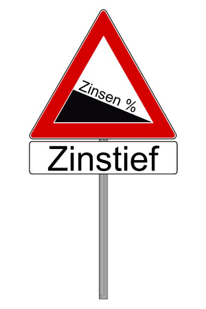 interest rates: Sign with the german words interest and low interest rates isolated over a white background Stock Photo