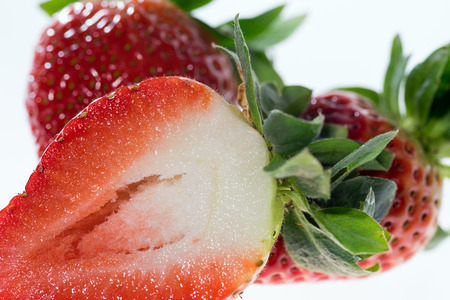 biologically: Closeup of red strawberries Stock Photo