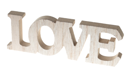 exempted: Wooden letters with the word love isolated over a white background Stock Photo