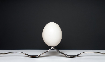 gamme de produit: two forks and an egg against a dark background Banque d'images