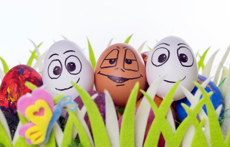 funny easter: Three funny easter eggs in a easter basket