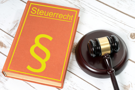 tax evasion: Statute book with the German words tax law and Judges gavel