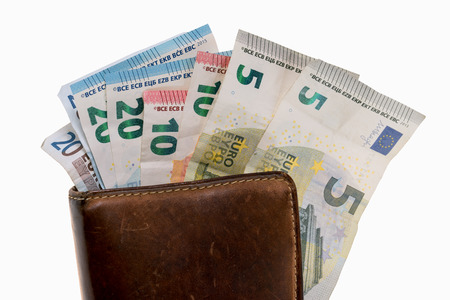 banknotes: Wallet with many euro banknotes