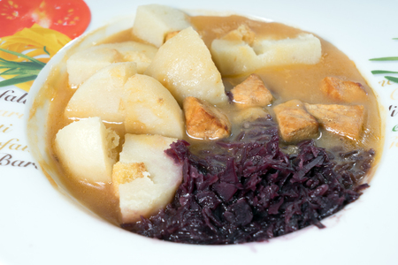 red cabbage: tasty food with meat, dumplings and red cabbage