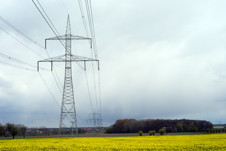 energy suppliers: Electricity pylon and yellow rapefield