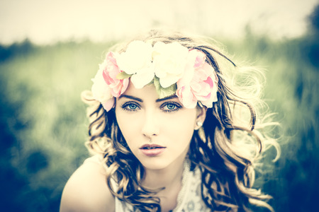 hair band: pretty woman with flower hair band in nature