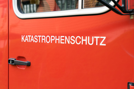 emergency vehicle: Emergency vehicle with the German word disaster prevention