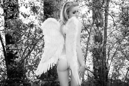 half naked: half naked woman with angel wings in a forest in black and white Stock Photo