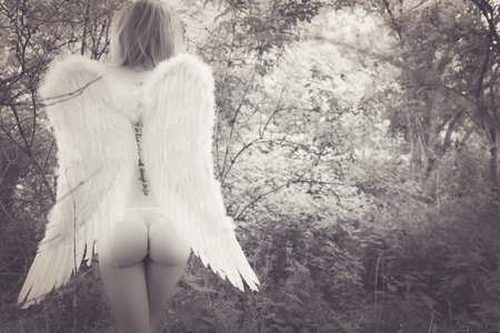 half naked: half naked woman with angel wings in a forest Stock Photo
