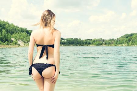 black bikini: pretty woman in black bikini