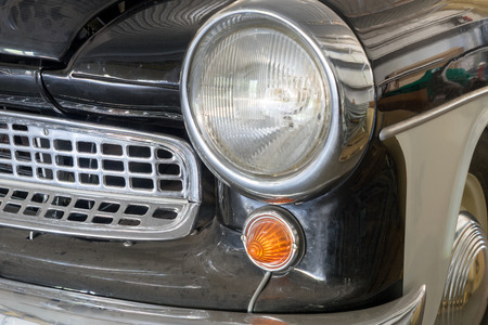 grille: very old car with chrome front grille Stock Photo