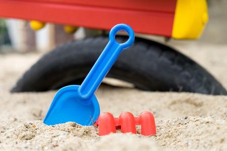 sandbox: Sandbox with sand toys for children Stock Photo