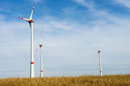 electricity prices: Wind turbine stands in an open space