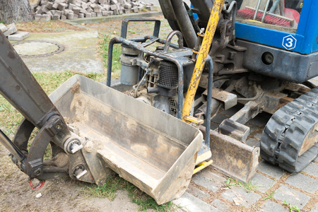 dredging tools: Excavator on a construction site Stock Photo
