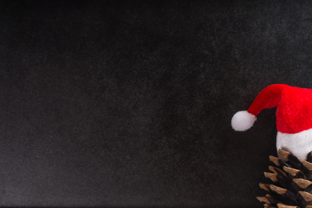 festiveness: Empty blackboard with pine cone and santa claus hat