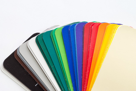 Color compartments over a white background