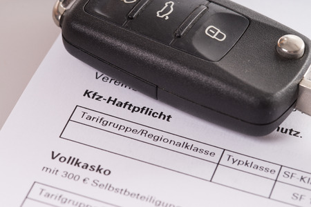 fully comprehensive: car key and letter For fully comprehensive insurance and car liability insurance Stock Photo