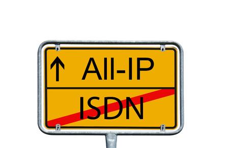 すべての IP および ISDN の言葉の町に署名 写真素材
