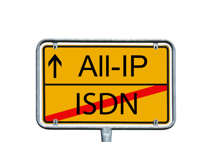 town sign with the words All IP and ISDN