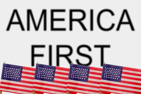 egoísta: American flags with the words America First