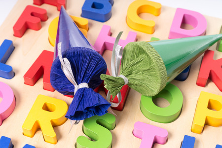 Colorful letters and sugar cones Stock fotó