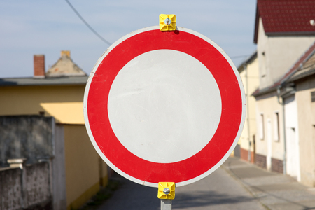 stop sign on a road Stock Photo