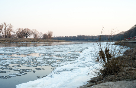Ice floes on a river Stok Fotoğraf