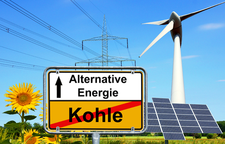 Town Sign with the german words Alternative Energy and Coal