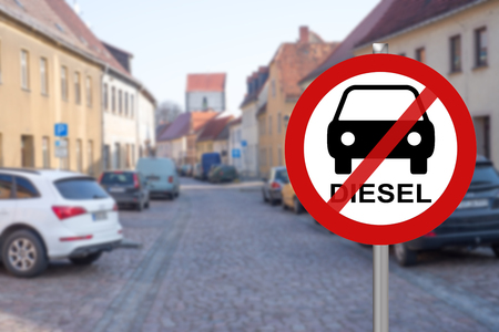 Stop sign for diesel cars in a city